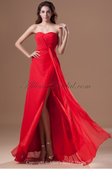 Chiffon Sweetheart Floor Length Column Prom Dress