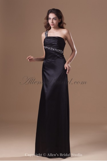 Satin One-shoulder Floor Length Sheath Crystals Prom Dress
