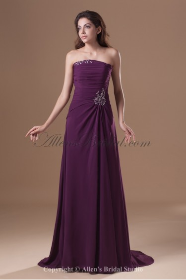 Chiffon Strapless Sweep Train Column Sequins Prom Dress