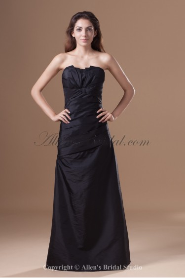 Taffeta Scallop Neckline Floor Length A-line Directionally Ruched Prom Dress