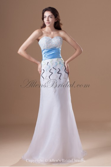 Organza Sweetheart Floor Length Sheath Beading Prom Dress