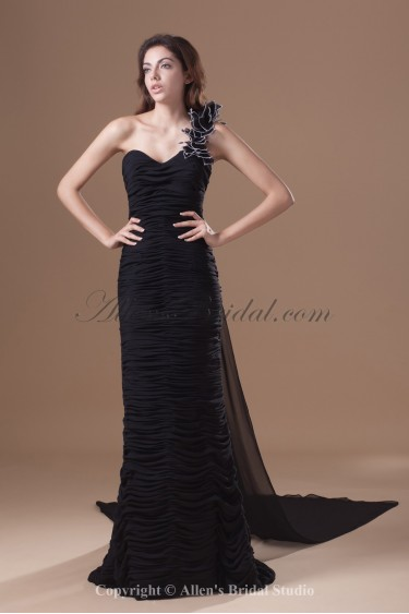 Chiffon One-Shoulder Neckline Cathedral Train Sheath Directionally Ruched Prom Dress