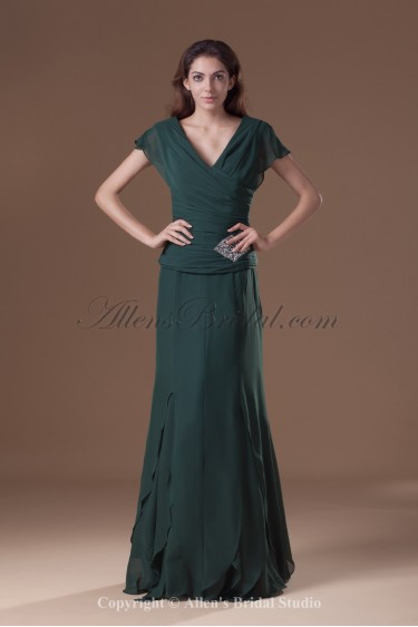 Chiffon V-Neck Neckline Floor Length Column Cap Sleeve Prom Dress