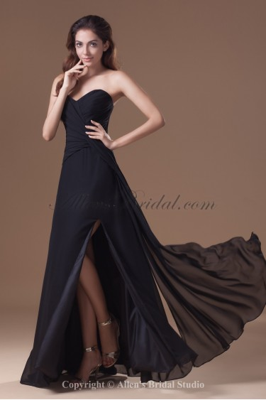 Chiffon Sweetheart Neckline Floor Length Column Prom Dress