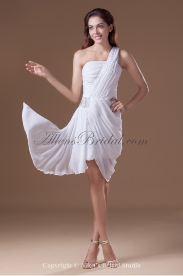 Chiffon One-shoulder Knee Length Column Ruffle Cocktail Dress