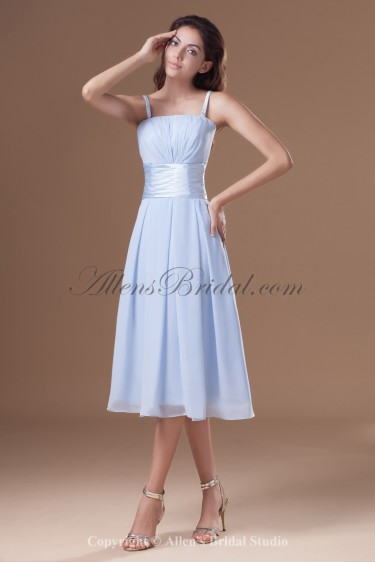 Chiffon Straps Neckline Knee Length A-line Cocktail Dress