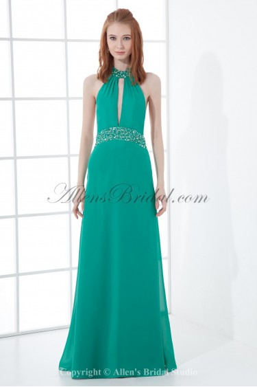 Chiffon Halter Neckline A-Line Floor Length Sequins Prom Dress