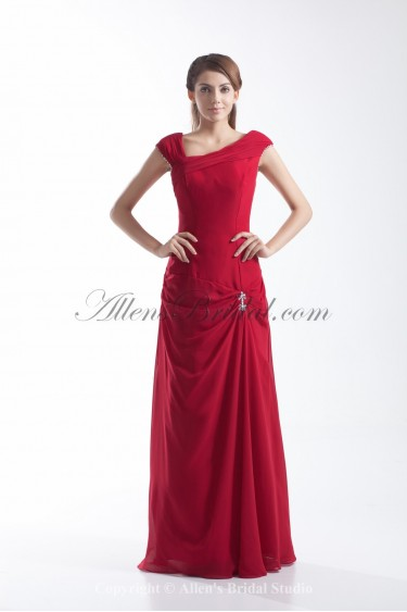 Chiffon Straps Floor Length Column Crystals Prom Dress