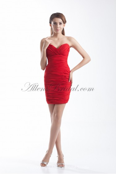 Chiffon Sweetheart Neckline Short Sheath Cocktail Dress