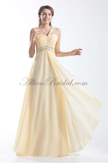 Chiffon One-shoulder Floor Length Column Prom Dress with Crystals