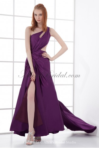 Satin One-Shoulder Ankle-Length A-line Prom Dress