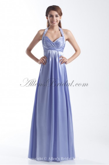 Satin Halter Neckline Floor Length Column Prom Dress