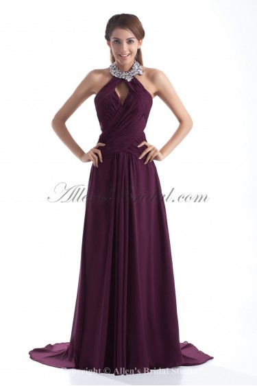 Chiffon Halter Neckline Sweep Train A-line Sequins Prom Dress