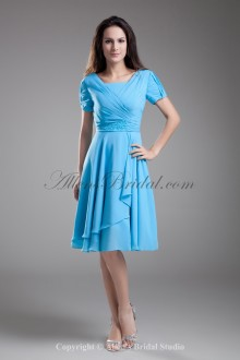 Chiffon V-Neck Neckline Knee Length Short Sleeves Column Cocktail Dress