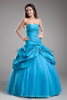 Taffeta Strapless Neckline Floor Length Ball Gown Embroidered Prom Dress