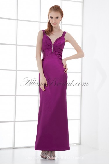 Satin Straps Sheath Ankle Length Sequins Prom Dress
