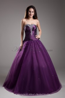 Net Strapless Neckline Floor Length A-line Embroidered Prom Dress