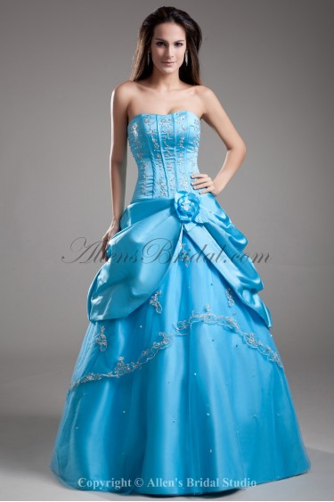 Satin Sweetheart Floor Length Ball Gown Embroidered Prom Dress