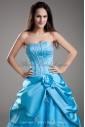 Satin Sweetheart Neckline Floor Length A-line Embroidered Prom Dress
