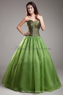 Organza Sweetheart Neckline Floor Length A-line Embroidered Prom Dress