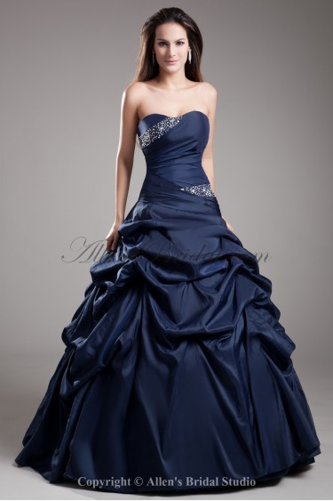 Satin Sweetheart Neckline Floor Length Ball Gown Crystals Prom Dress