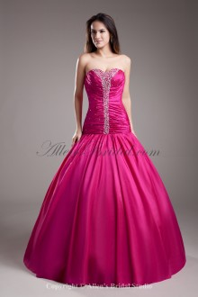 Taffeta Sweetheart Neckline Floor Length Ball Gown Embroidered Prom Dress