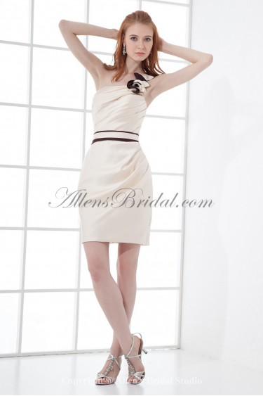 Satin One-shoulder Neckline Sheath Short Bow Cocktail Dress