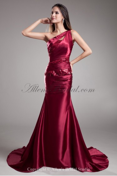 Satin One-Shoulder Court Train Sheath Prom Dress with Sequins
