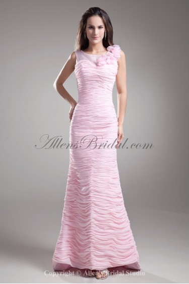 Chiffon Jewel Neckline Sweep Train Sheath Hand-made Flowers Prom Dress
