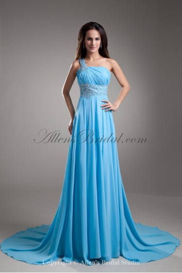 Chiffon One-Shoulder Neckline Chapel Train Column Embroidered Prom Dress