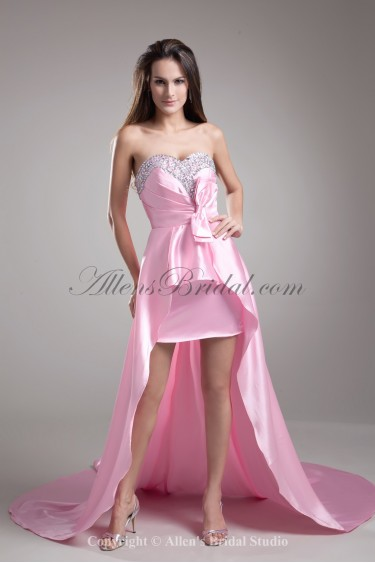 Satin Sweetheart Neckline Sweep Train A-line Crystals Prom Dress