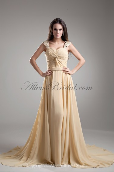 Chiffon Straps Neckline Chapel Train Column Bead Prom Dress