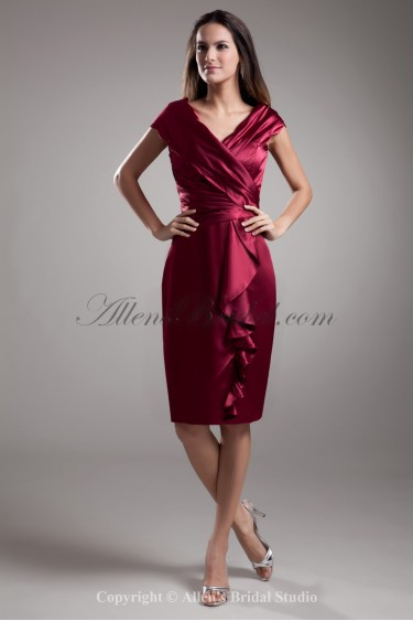 Satin V-Neck Neckline Knee Length Sheath Cap Sleeves Cocktail Dress