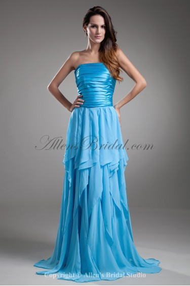 Chiffon Strapless Neckline Sweep Train Column Directionally Ruched Prom Dress