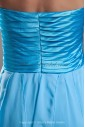 Chiffon Strapless Neckline Sweep Train A-line Directionally Ruched Prom Dress