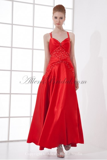 Satin Spaghetti Neckline A-Line Ankle-Length Sequins Prom Dress