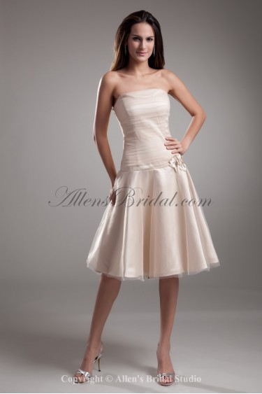 Satin and Tulle Strapless Knee Length A-line Flowers Cocktail Dress