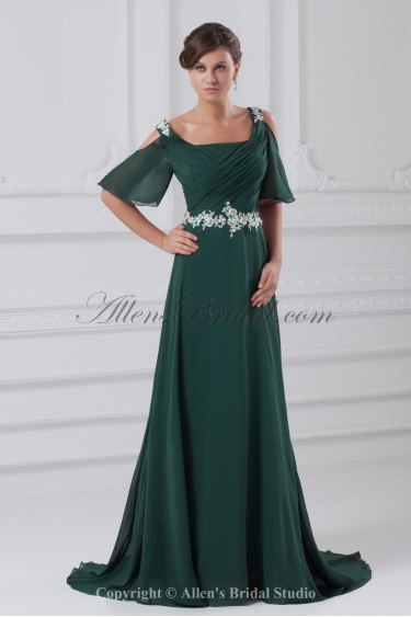 Chiffon Straps Neckline Sweep Train A-Line Embroidered Prom Dress