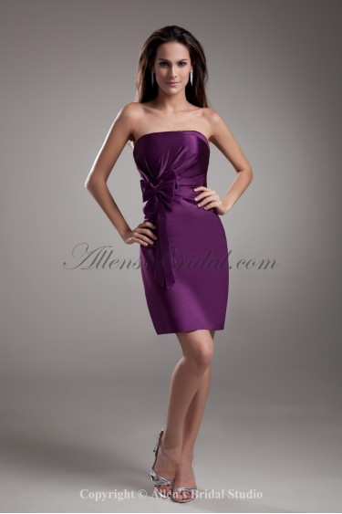 Satin Strapless Neckline Short Sheath Bow Cocktail Dress