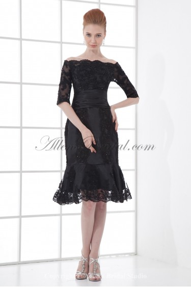 Lace Off-the-Shoulder Neckline Sheath Knee-length Half Sleeves Cocktail Dress