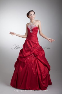 Taffeta Strapless Neckline Floor Length A-line Embroidered Prom Dress