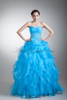 Organza Sweetheart Neckline Floor Length A-line Crisscross Ruched Prom Dress