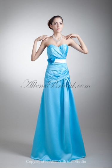 Satin Sweetheart Neckline Floor Length A-line Flowers Prom Dress