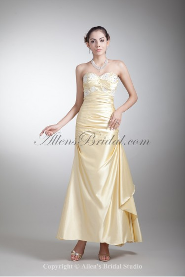 Satin Sweetheart Ankle-Length A-Line Embroidered Prom Dress