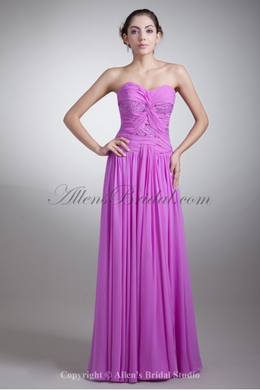 Chiffon Sweetheart Neckline Floor Length Coloum Embroidered Prom Dress