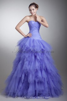 Satin and Net Sweetheart Neckline Floor Length Sheath Crisscross Ruched Prom Dress