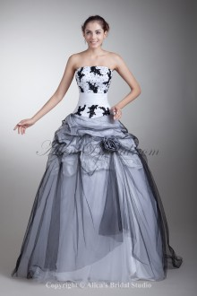 Satin and Net Strapless Neckline Floor Length Ball Gown Embroidered Prom Dress
