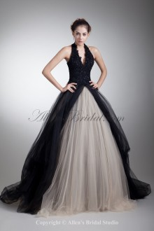 Satin and Net Halter Neckline Sweep Train Ball Gown Embroidered Prom Dress