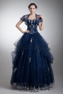 Satin and Net Sweetheart Neckline Floor Length Ball Gown Embroidered Prom Dress with Jacket