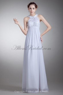 Chiffon Jewel Neckline Floor Length Empire Line Embroidered Wedding Dress